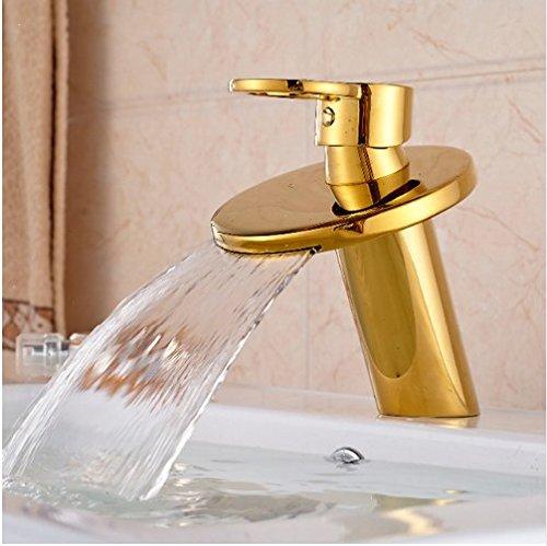 Gowe Golden Brass Deck Mounted Bathroom Basin Faucet Bathroom Waterfall Sink Water Mixer tap 0