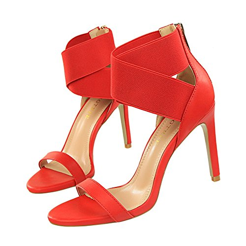 z&dw Elegantes tacones altos elásticos sandalias de goma cruzada de la venda Rojo