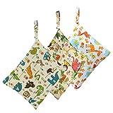 Biubee 3 Pack Wet Dry Cloth Diaper Bags - Baby Waterproof Washable Reusable Hanging Diaper Organiz