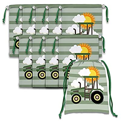 Farm Green Tractor Time Drawstring Bags Kids Birthday Party Supplies Favor Bags 10 Pack: Clothing