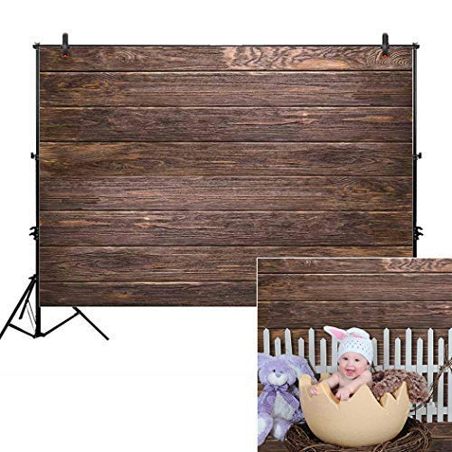 Allenjoy 7x5ft Fabric Brown Wood Backdrops for Newborn Photography Wrinkle Free Rustic Birthday Party Retro Grunge Wooden Floor Picture Wall Baby Shower Still Life Product Background Photo Studio Prop