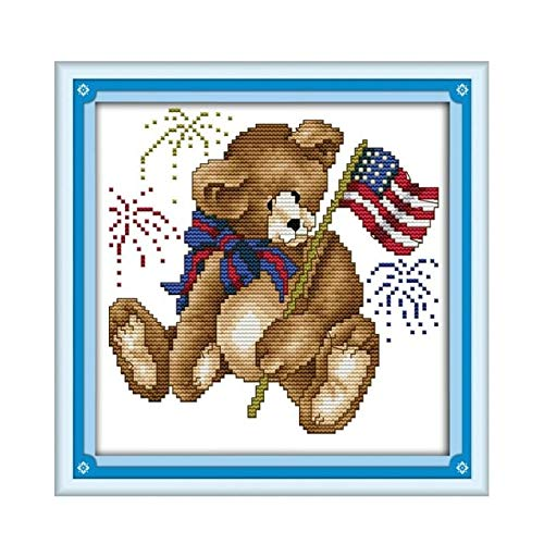 Ochoos December Bear Mini Handmade DIY Embroidery Cross for sale  Delivered anywhere in USA