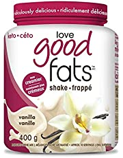 Love Good Fats - Vanilla Milkshake Keto Grass Fed Protein Powder with Mct Oil - Gluten-Free & Low Carb - Promotes Weight Loss & Suppresses Appetite Perfect for Ketogenic Diets - 400 G