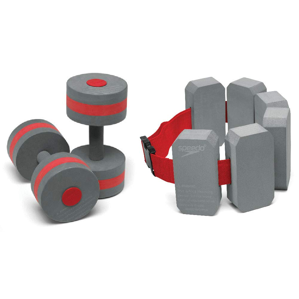 Speedo Aqua Fitness Barbells & Belt Combo, Grey/Red
