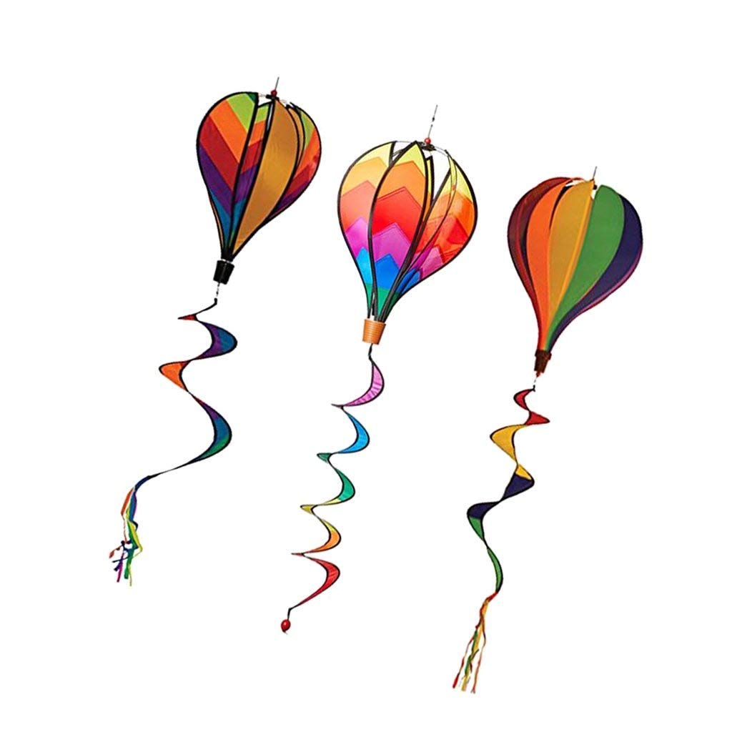 Sitrda Lot de 3 montgolfi/ères /à air Chaud 137,2 cm avec moulins /à Vent en Spirale pour d/écoration de Jardin