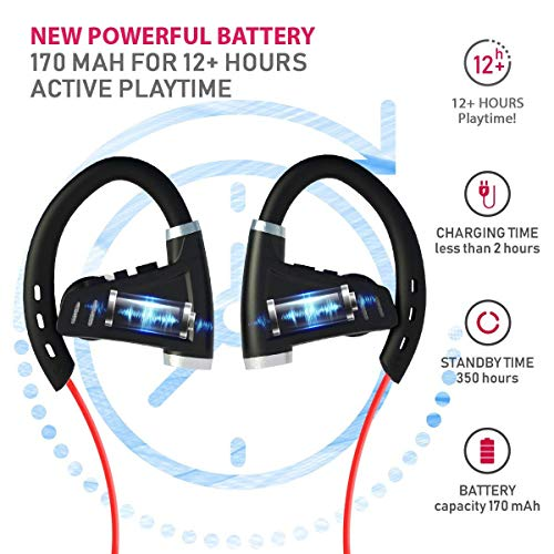 Bluetooth Headphones w/ 12+ Hours Battery - Best Workout Wireless Sport Earphones w/Mic - IPX7 Waterproof Music Earbuds for Gym Running (Sport Headphones) (Best Beats By Dre For Working Out)