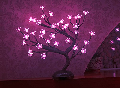 Lightshare 16Inch 36LED Cherry Blossom Bonsai Light, Pink Light, Battery Powered and (Table Light Cherry)