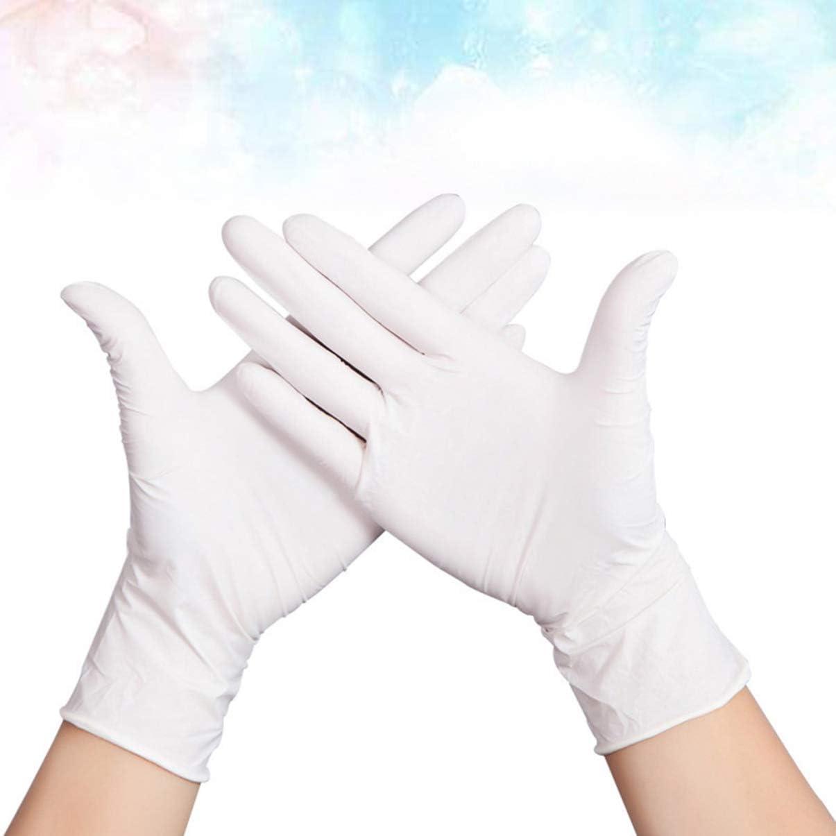 Delgada Blanca Yarnow 100 Piezas Guantes de Nitrilo Desechables Guantes de Examen de Caucho Natural Guantes Multiusos para Trabajar Limpieza Lavado Cocinando Talla L