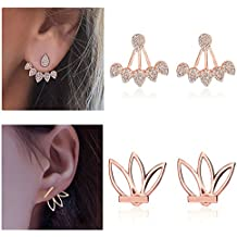 Suyi Fashion Hollow Lotus Flower Earrings Crystal Simple Chic Stud Earrings Set