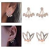 Suyi Fashion Hollow Lotus Flower Earrings Crystal Simple Chic Stud Earrings Set BRG