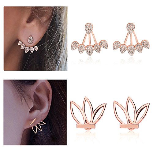 Suyi Fashion Hollow Lotus Flower Earrings Crystal Simple Chic Stud Earrings Set BRG
