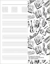 Cuaderno En Blanco de Tablatura para Guitarra con Seis Cuerdas ...