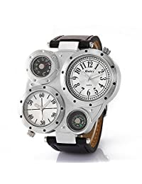 OULM Men's Military Oversize Multi TimeZones 2 Dials Leather Analog Sports Wrist Watch HP9415 Black Band White Face