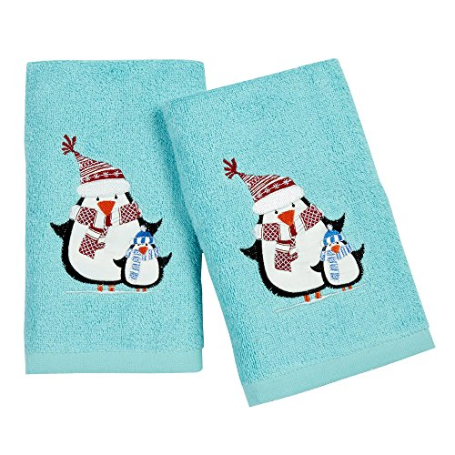 Nantucket Home Penguins Embroidered Hand Towels, 28-Inch x 16-Inch, 2-Pack