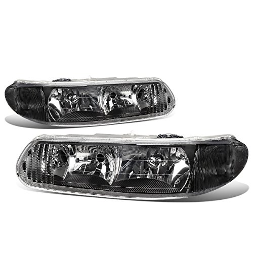 Buick Regal Grille Assembly - For Buick Century/Regal Pair of Headlight Lamp (Black Housing Clear Corner) 6th gen