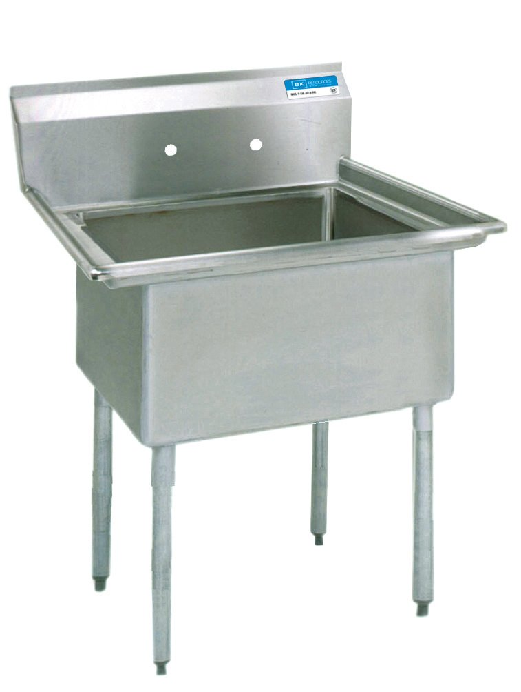 18x18x12 Bowl BK Resources BKS-1-18-12 Stainless Steel Single 1 Compartment Sink 23 Length x 23 Width