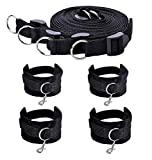 JUCAII Premium Nylon Straps Kits, Adjustable Comfortable Wrist Ankle Handcuffs -Black