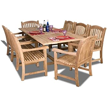 Amazon.com : New 9 Pc Luxurious Grade-A Teak Dining Set -94 ...