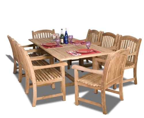 Amazonia Newcastle 9-Piece Outdoor Rectangular Dining Table Set | Certified Teak | Ideal for Patio and Indoors, Light… - 【9-Piece Set】High quality certified teak 9-piece dining table set includes 8 armchairs and 1 teak rectangular table in a rich wood-brown color. This set is ideal for both indoors and patio and will make your outdoors an elegant space to enjoy with family and friends. 【FREE maintenance kit included】Easy to maintain and clean. This kit includes: a wood cleaner, brush, gloves, sponge, emery paper, paint brush, Cotton cloth, and wood sealer oil. For best protection, perform this maintenance every season or as often as desired. 【Dimensions & Weight】1 Rectangular Extendable Table 87W x 67L x 29H. Unextended Length: 39L. Armchairs 25W x 23D x 35H. Seating Dimensions 23. 5W x 18. 5L x 16. 5H. Weight capacity for each armchair is 250 lbs. - patio-furniture, dining-sets-patio-funiture, patio - 51vtJNe%2BlDL -
