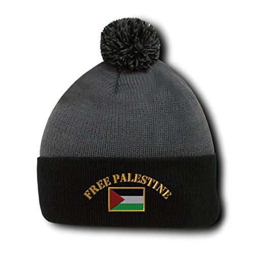 Free Palestine Flag Embroidery Embroidered Pom Pom Beanie Skully Hat Cap Gray Black