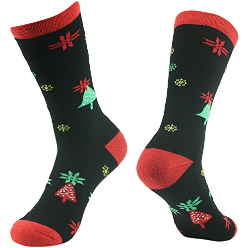 Cartoon Socks, Gmark Unisex Extreme Winter Wear Gifts Christmas Trees And Snowflakes,Black -