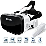 Cheap Elzoneta Reality Virtual VR Headset 3D Glasses – with Bluetooth Remote Controller and Stereo Sound Earphones for Video Games, Adjustable Lens Reality Helmet for iphone, Android Mobile Phone