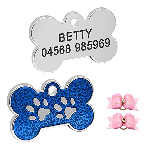 Didog Adorable Light Pet Dog ID Tags Bone Shaped Paw Print for Puppy Small Dogs,Yorkie,Poodle,Pug,Blue ()