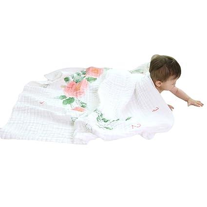 Hehong Muselina Doble capa Toallitas para bebé y niños Manta Swaddle Toalla para recién nacido y