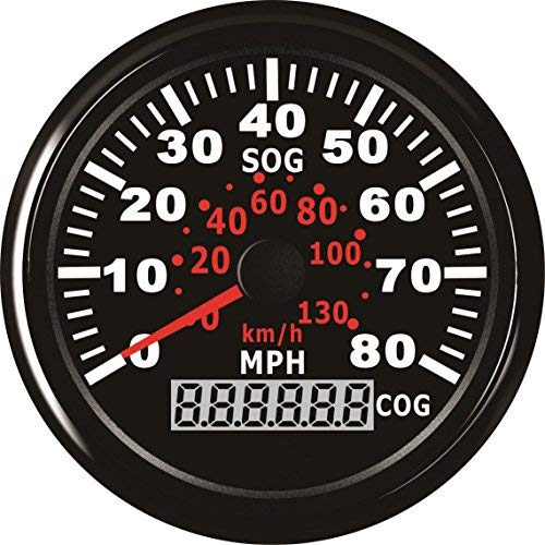 (ELING GPS Speedometer Speedo Gauge 0-80MPH for Boat Yacht Vessel 3-3/8'' (85mm) 9-32V (LED Shows Course not Odometer))