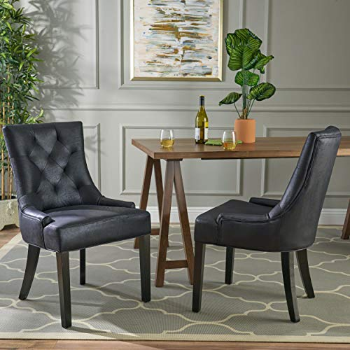 Sarah Traditional Microfiber Dining Chairs (Set of 2), Navy Blue