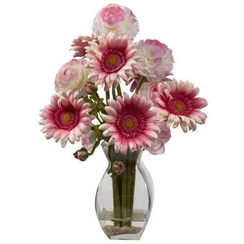 UPC 810709021912, Nearly Natural 1298-PK Gerber Daisy and Ranunculus Delight Arrangement, Pink
