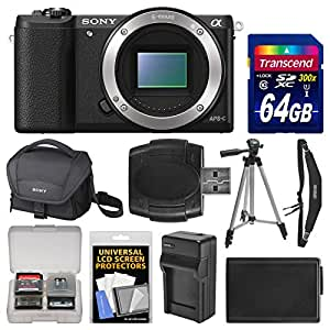 Sony Alpha A5100 Wi-Fi Digital Camera Body (Black) with 64GB Card + Case + Battery & Charger + Tripod + Strap + Kit
