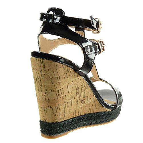 Sandali 12 Sughero Nero Tanga Zeppe Cinturino Scarpe cm Angkorly Tacco Moda Espadrillas Corda Piattaforma Zeppa Donna A8OtqqFn