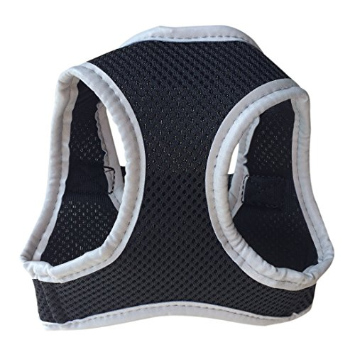 FUNPET Reflective Soft Mesh Dog Harness Vest No Pull Comfort Padded for Small Pet Cat and Puppy Black XS