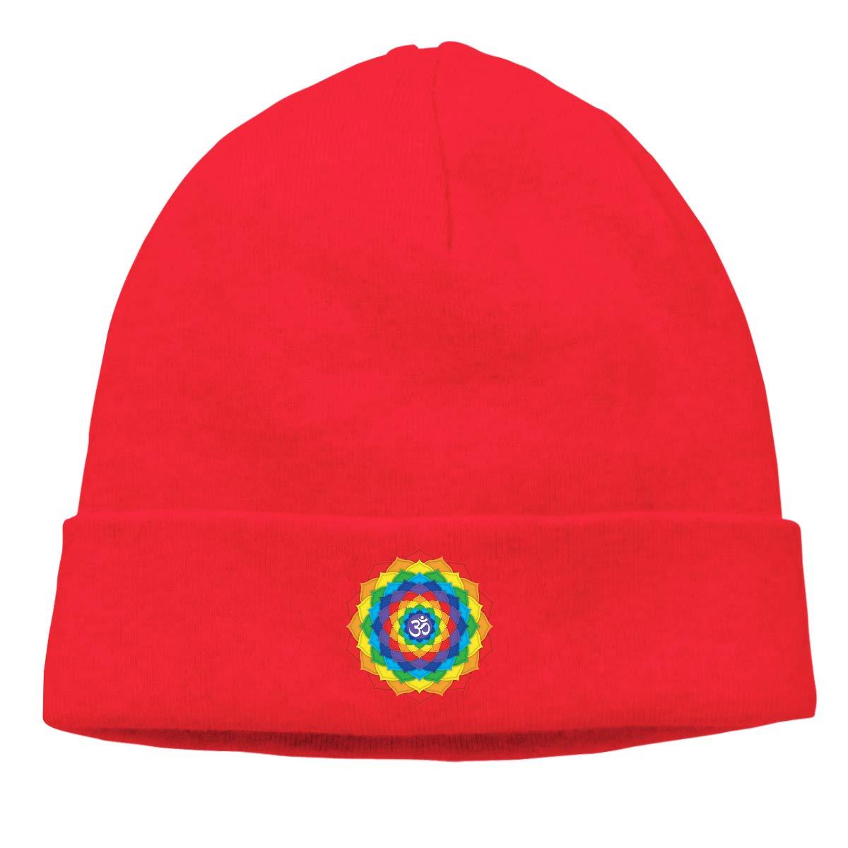 Simoner Rainbow Crown Chakra Warm Stretchy Solid Daily Skull Cap,Knit Wool Beanie Hat Black