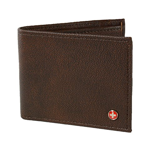 Alpine Swiss Men's Top Grain Leather Slimfold Wallet Antique Brown (Antique Top Brown Leather)
