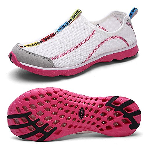 Mxson Women's Slip On Sneaker Mesh Casual Sports Walking Beach Aqua Swimming Pool Water Shoes, White, 7.5 B(M) US