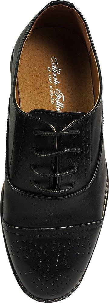 VIA FARINELLA Mens Genuine Leather Insole Cap Toe Lace up Dress Shoe