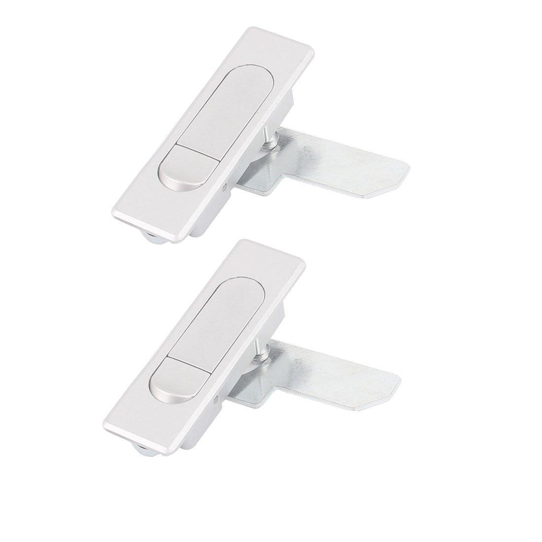uxcell 2Pcs Cabinet Door Push Button Pop Up Plane Type Cam Lock Silver Tone
