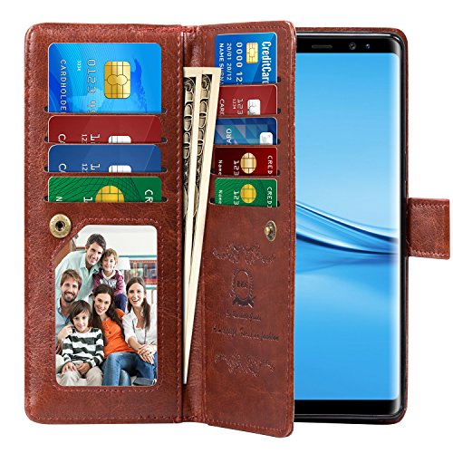 Note 8 Case, Pasonomi Note 8 Wallet Case with Detachable - [Folio Style] PU Leather Wallet case with ID&Card Holder Slot Wrist Strap for Samsung Galaxy Note 8 (Brown, Samsung Galaxy Note 8)