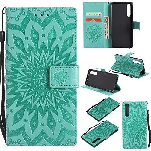 Price comparison product image Huawei P20 Pro Case Emboss Sun Flower PU Leather Wallet ID & Credit Card Slots Magnetic Folio Cover (Huawei P20 Pro,  Green)