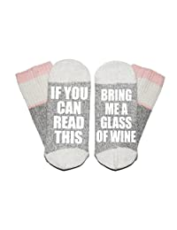 Pink If You Can Read This Bring Me A Glass of Wine Wool Winter Novelty Crew Socks