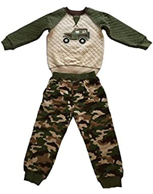 Boys 2 Piece Camo Quilted Jeep Top and Pants Set,Green,24 Months