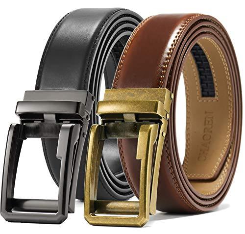 """Ratchet Belt Gift Set, Leather Click Belt Dress with Sliding Buckle 1 3/8""""–Adjustable Exact Fit (Detailed Belt Leather)"""