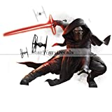 Kylo Knight of Ren Sith Lightsaber First Order Star Wars the Force Awakens Dark Side Episode 7 Removable Wall Decal Sticker Art Home Decor Kids Room-11 3/4 Inches Wide By 9 Inches