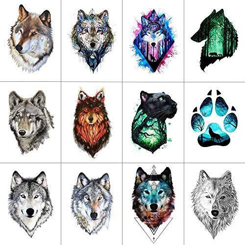 WYUEN 12 PCS/lot Wolf Temporary Tattoo Sticker for Women Men Fashion Body Art Adults Waterproof Hand Fake Tatoo 9.8X6cm FW12-01 (FW12-01D) (Best Tattoos For Men On Hand)