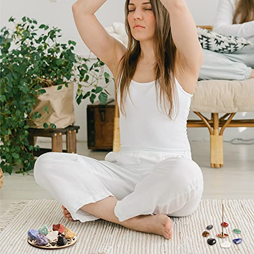 20Pcs Healing Crystals for Beginners Set with 7 Raw Chakra Stones,7 Tumbled Gemstones, Lava Bracelet, Necklace, Incense Holder, Selenite, Crystal Grid for Meditation,Spiritual Healing,Chakra Balance
