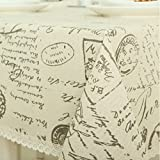 LINENLUX Cloth Cotton Linen Tablecloth Living Room Table Cover Table Linen Alphabet (Shads,39.4x55.1In)