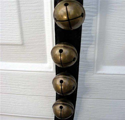 Sleighbells/strap 43.5 Leather 10 Antique Brass Bells by STRAP OF BELLS