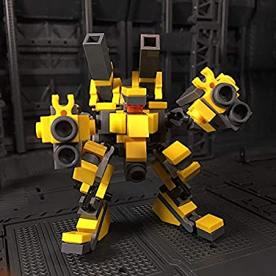 ECLENYES 124Pcs Moc Small Fire Suppression Mecha Assault Force Model Assembly Small Particle Building Blocks Educational Toy Set (The Product is not Made and Sold by Lego) - Yellow: Home & Kitchen